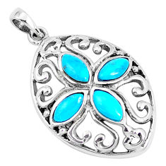 1.63cts natural green kingman turquoise 925 sterling silver pendant c11012
