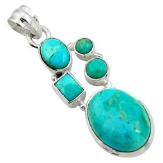14.12cts natural green kingman turquoise 925 sterling silver pendant d42834