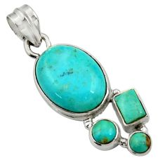 Clearance Sale- 12.96cts natural green kingman turquoise 925 sterling silver pendant d42848