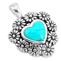 2.74cts natural green kingman turquoise 925 silver flower pendant c10824