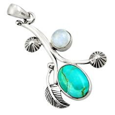 7.22cts natural green kingman turquoise moonstone 925 silver pendant d42827