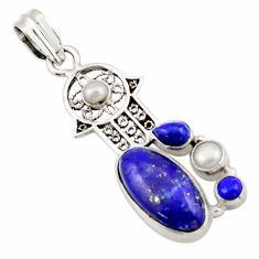 10.64cts natural green lapis lazuli 925 silver hand of god hamsa pendant d47243