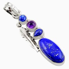 10.01cts natural green lapis lazuli amethyst 925 sterling silver pendant d47245