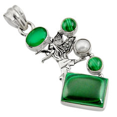 Clearance Sale- 10.77cts natural green malachite (pilot's stone) 925 silver angel pendant d42722