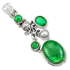 16.24cts natural green malachite (pilot's stone) 925 silver angel pendant d42755