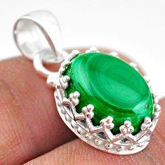 7.28cts natural green malachite (pilot's stone) 925 silver crown pendant t43308