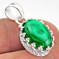 6.85cts natural green malachite (pilot's stone) 925 silver crown pendant t43309