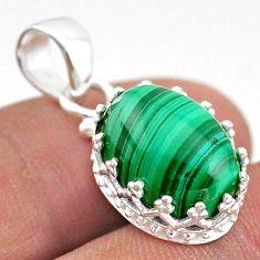 7.62cts natural green malachite (pilot's stone) 925 silver crown pendant t43310