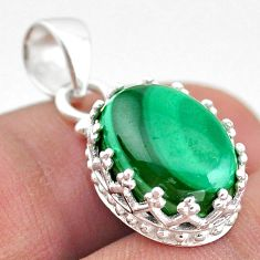 6.90cts natural green malachite (pilot's stone) 925 silver crown pendant t43334