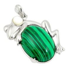 Natural green malachite (pilot's stone) 925 silver frog pendant c21635