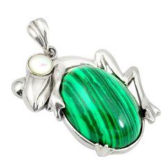 Natural green malachite (pilot's stone) 925 silver frog pendant c21637