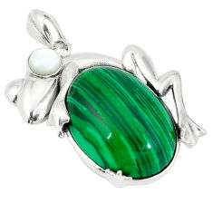 Natural green malachite (pilot's stone) 925 silver frog pendant jewelry c22485