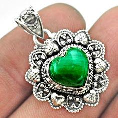5.31cts natural green malachite (pilot's stone) 925 silver heart pendant t56183