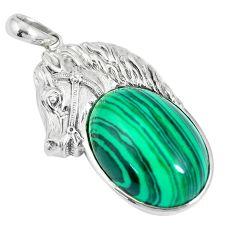 26.01cts natural green malachite (pilot's stone) 925 silver horse pendant c25730