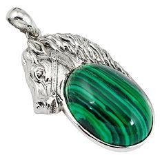 Natural green malachite (pilot's stone) 925 silver horse pendant jewelry c22494