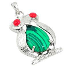 Natural green malachite (pilot's stone) 925 silver owl pendant c21603