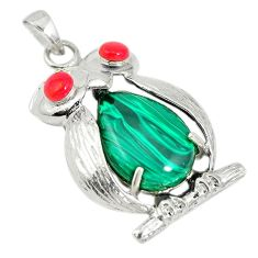 Natural green malachite (pilot's stone) 925 silver owl pendant jewelry c21608