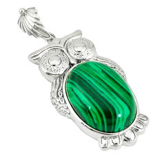 Natural green malachite (pilot's stone) 925 silver owl pendant jewelry c22575