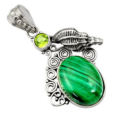 Clearance Sale- 14.04cts natural green malachite (pilot's stone) 925 silver pendant d42721