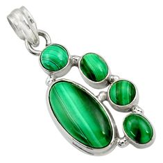 Clearance Sale- 11.93cts natural green malachite (pilot's stone) 925 silver pendant d42773