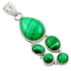 15.76cts natural green malachite (pilot's stone) 925 silver pendant d42775