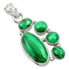 13.07cts natural green malachite (pilot's stone) 925 silver pendant d42777
