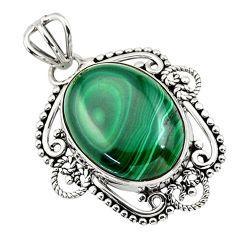 13.70cts natural green malachite (pilot's stone) 925 silver pendant r32317