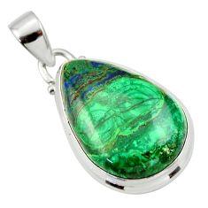 18.10cts natural green malachite (pilot's stone) 925 silver pendant r33862