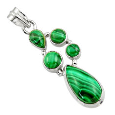 11.55cts natural green malachite (pilot's stone) 925 silver pendant r43163