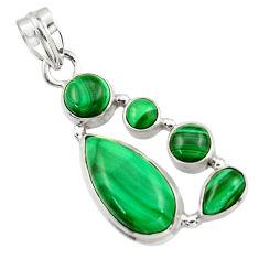 12.04cts natural green malachite (pilot's stone) 925 silver pendant r43166