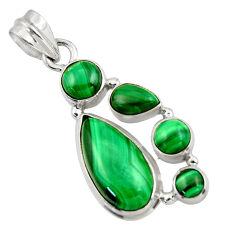 11.98cts natural green malachite (pilot's stone) 925 silver pendant r43168