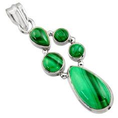 11.80cts natural green malachite (pilot's stone) 925 silver pendant r43171