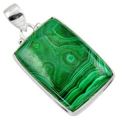 30.88cts natural green malachite (pilot's stone) 925 silver pendant r50581