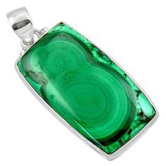 29.34cts natural green malachite (pilot's stone) 925 silver pendant r50582