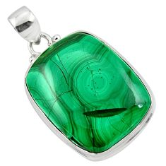 28.30cts natural green malachite (pilot's stone) 925 silver pendant r50585