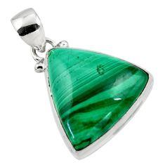 16.20cts natural green malachite (pilot's stone) 925 silver pendant r50609