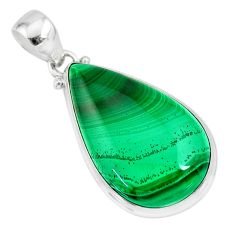 30.49cts natural green malachite (pilot's stone) 925 silver pendant r84644