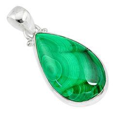 19.23cts natural green malachite (pilot's stone) 925 silver pendant r84648