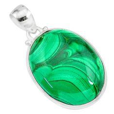 34.94cts natural green malachite (pilot's stone) 925 silver pendant r84649