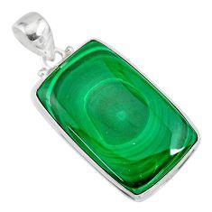 33.24cts natural green malachite (pilot's stone) 925 silver pendant r84652