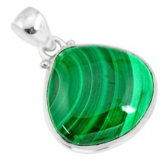 25.00cts natural green malachite (pilot's stone) 925 silver pendant r84654