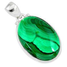 22.02cts natural green malachite (pilot's stone) 925 silver pendant r84656