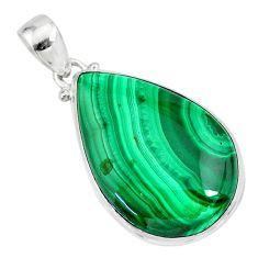 29.34cts natural green malachite (pilot's stone) 925 silver pendant r84659
