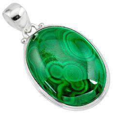 32.73cts natural green malachite (pilot's stone) 925 silver pendant r84661