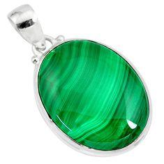 27.13cts natural green malachite (pilot's stone) 925 silver pendant r84662
