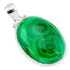 26.11cts natural green malachite (pilot's stone) 925 silver pendant r84667