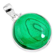 30.97cts natural green malachite (pilot's stone) 925 silver pendant r84670