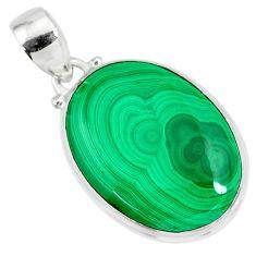 21.48cts natural green malachite (pilot's stone) 925 silver pendant r84672