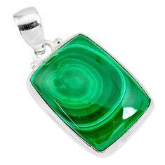 22.59cts natural green malachite (pilot's stone) 925 silver pendant r84674
