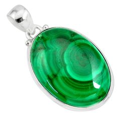 28.73cts natural green malachite (pilot's stone) 925 silver pendant r84676
